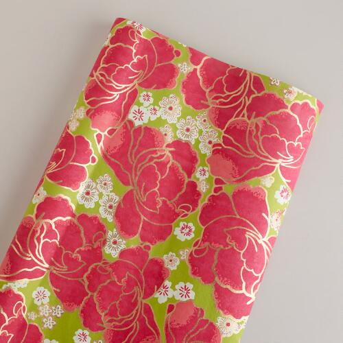 Large Green Poppy Giftwrap Roll