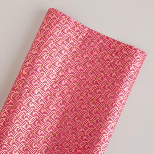Pink and Gold Glitter Floral Giftwrap Roll