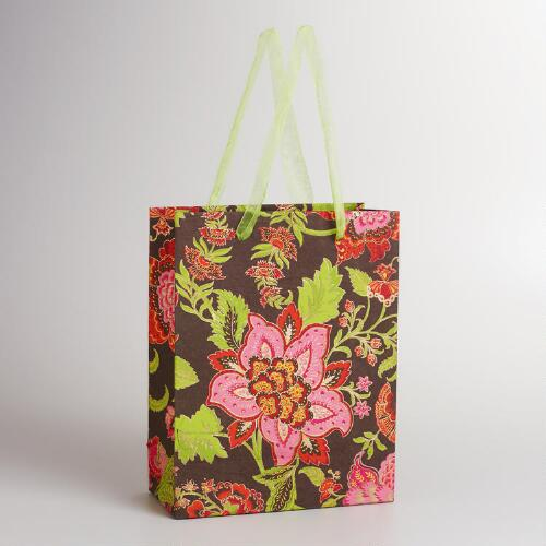 Large Green Kavari Floral Print Gift Bag