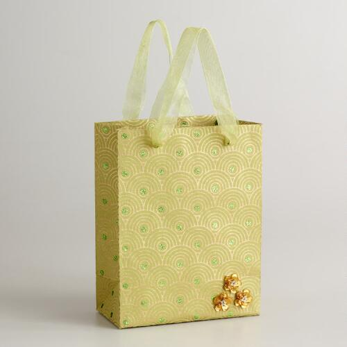 Small Green Sequined Flower Gift Bag