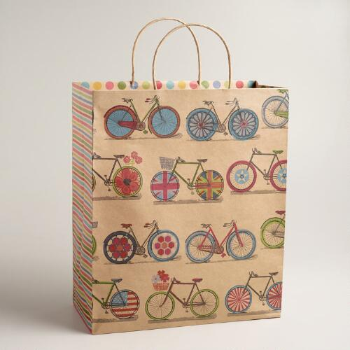 Extra Large Spring Bicycles Kraft Gift Bag