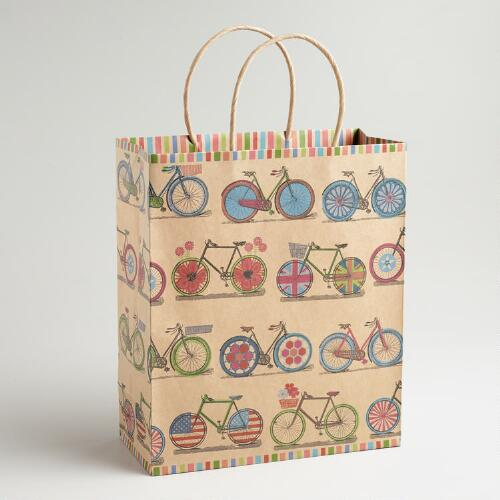 Large Spring Bicycles Kraft Gift Bag