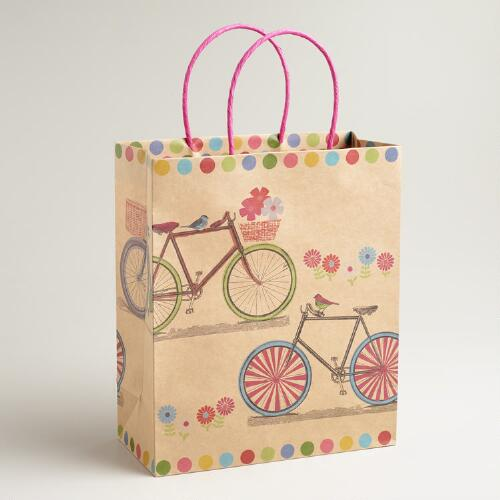 Large Double Bicycles Kraft Gift Bag