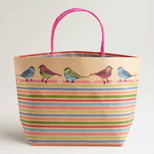 Stripes and Birds Market Tote Kraft Gift Bag