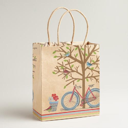 Medium Bike Under Tree Kraft Gift Bag