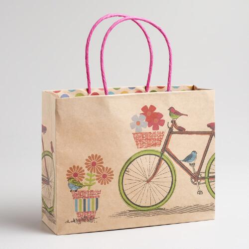 Medium Birds on Bike Kraft Gift Bag