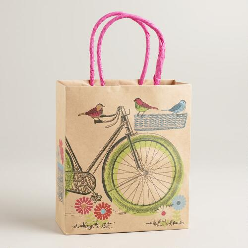 Small Birds on Bike Kraft Gift Bag