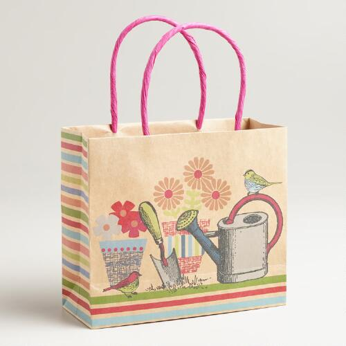 Small Garden Supplies Print Kraft Gift Bag