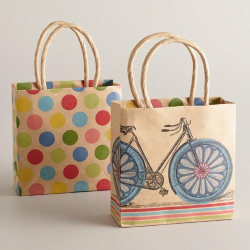 Mini Bicycle and Dots Kraft Gift Bags, Set of 2