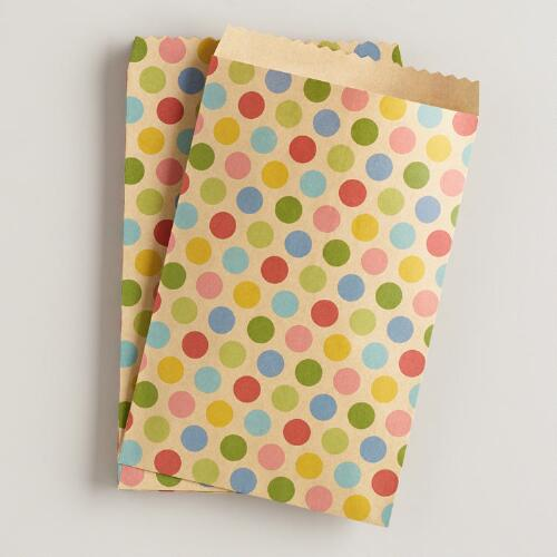 Dots Kraft Paper Bags, 20-Count