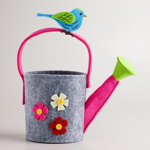 Felt Bird on Watering Can Container