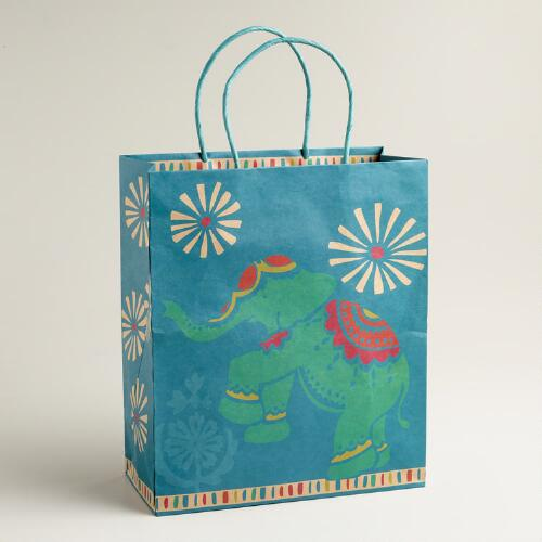 Large Blue Global Elephant Gift Bag