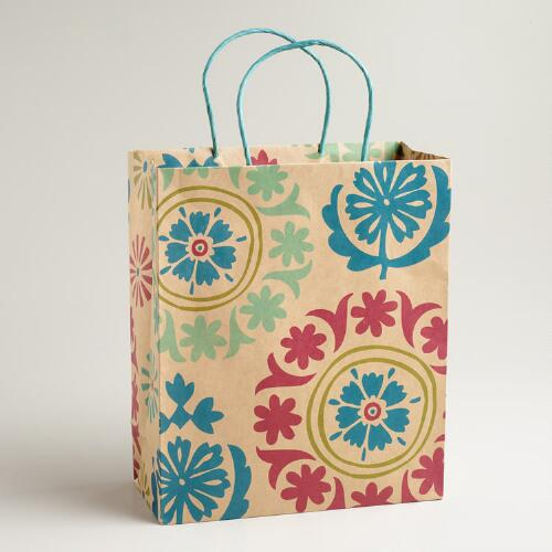 Large Paisley Kraft Gift Bag