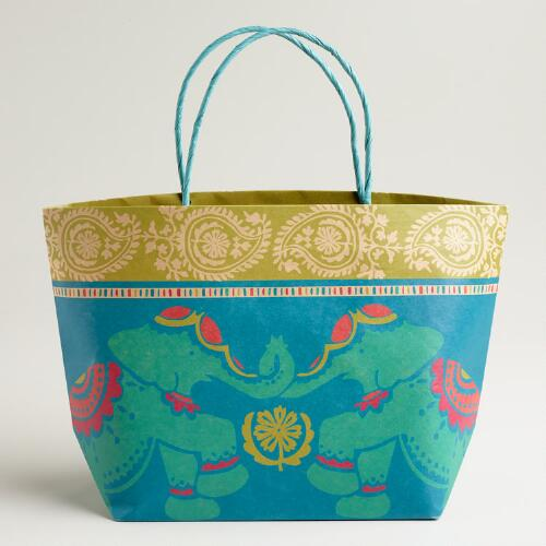 Global Elephant Market Tote Kraft Gift Bag