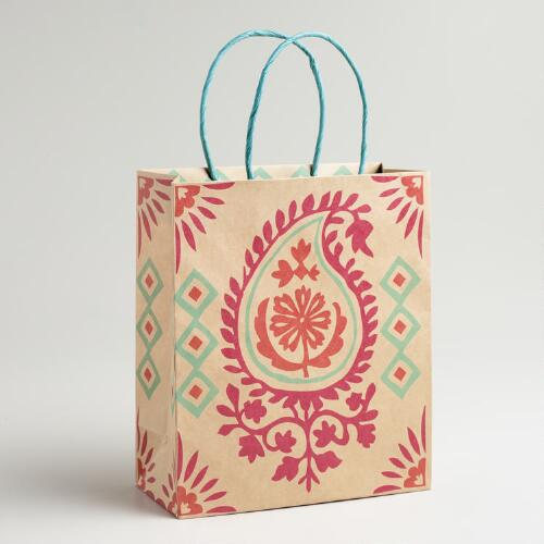 Medium Pink Paisley Kraft Gift Bag