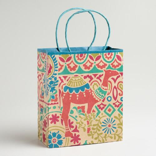 Medium Camel Print Kraft Gift Bag