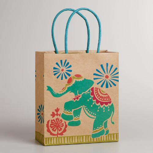Small Global Elephant Kraft Gift Bag