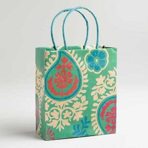 Small Turquoise Paisley Kraft Gift Bag