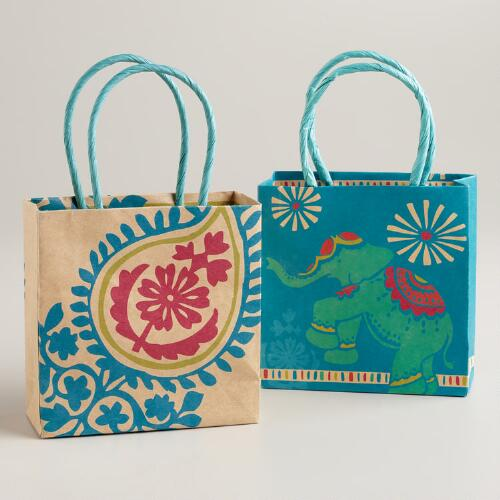 Mini Global Elephant Kraft Gift Bags, Set of 2