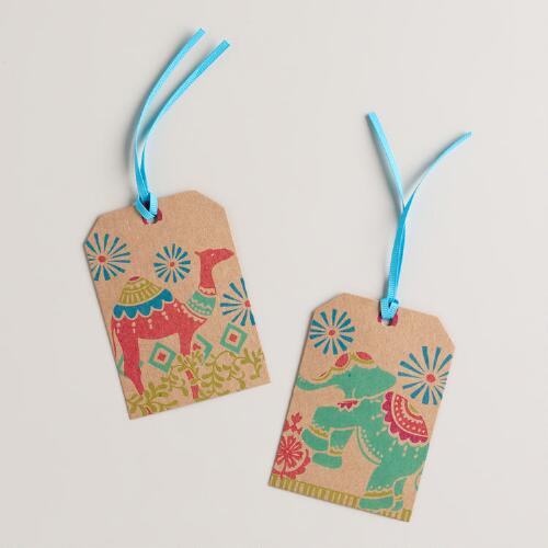 Global Elephant Gift Tags, Set of 6
