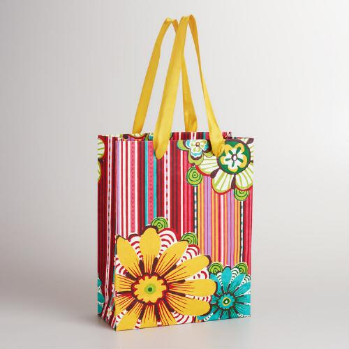Large Floral Stripe Aegean Shore Gift Bag