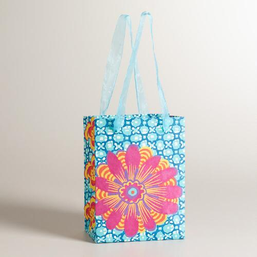 Small Turquoise with Pink Flower Gift Bag