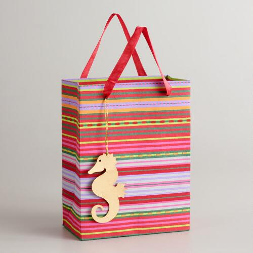 Small Striped Gift Bag with Seahorse Tags