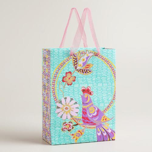 Large Turquoise with Purple Bird Gift Bag
