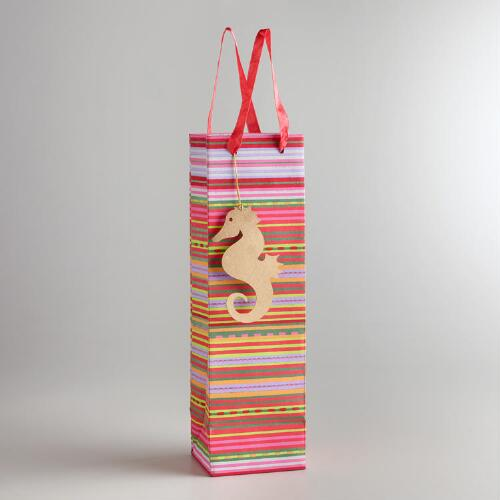 Striped Wine Bag with Seahorse Tag