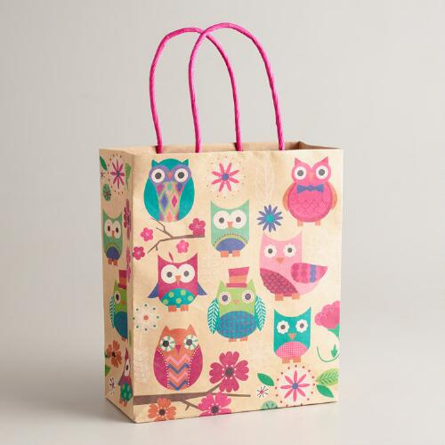 Medium Spring Owls Kraft Gift Bag