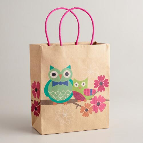 Medium Owl in a Tree Kraft Gift Bag