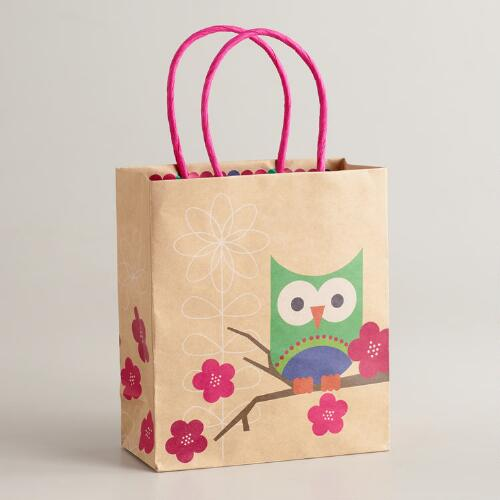 Small Single Blue Owl Kraft Gift Bag