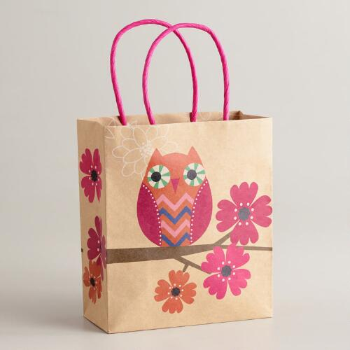 Small Orang and Pink Owl Kraft Gift Bag