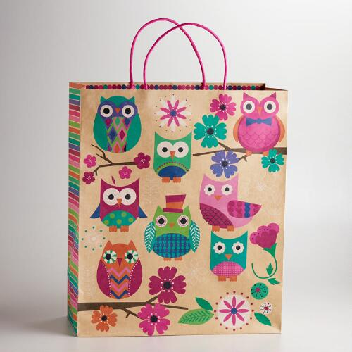 Extra Large Spring Owls Kraft Gift Bag