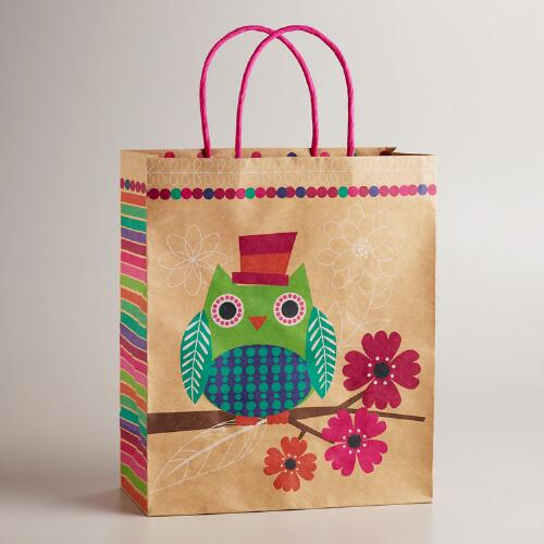 Large Owl with Top Hat Kraft Gift Bag