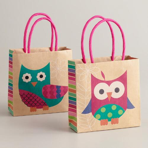 Mini Pink and Blue Owl Kraft Gift Bags, Set of 2