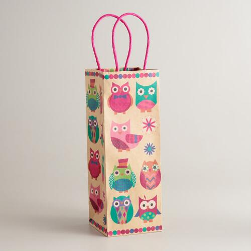 Spring Owls Wine Bag