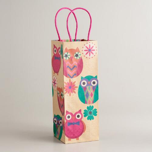 Three Spring Owls Wine Bag