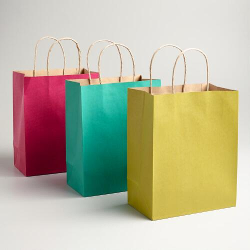 Medium Pink, Turquoise and Green Kraft Gift Bags, 6-Pack