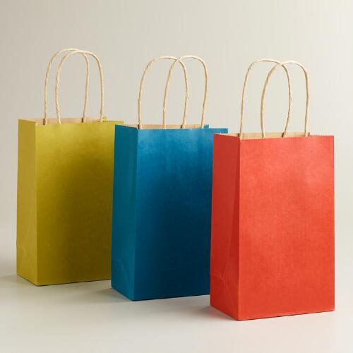 Small Orange, Green and Blue Kraft Gift Bags, 6-Pack