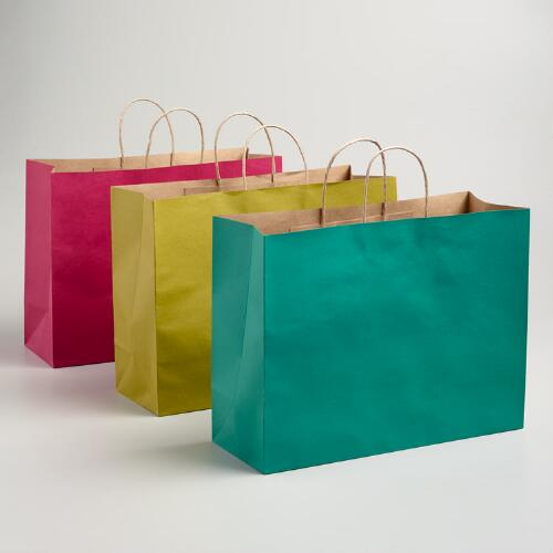 Large Pink, Turquoise and Green Kraft Gift Bags, 6-Pack