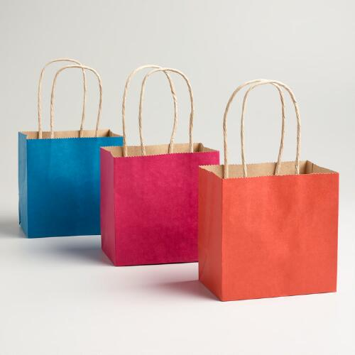 Mini Orange, Pink and Blue Kraft Gift Bags, 6-Pack