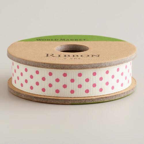 Pink Dot Grosgrain Ribbon