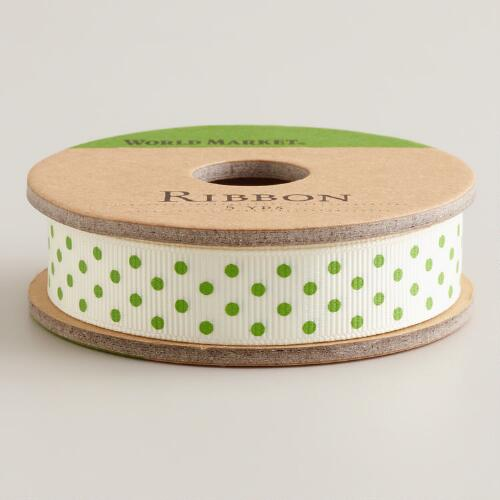 Green Dot Grosgrain Ribbon