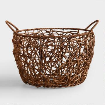 Large Brown Crazy Weave Basket