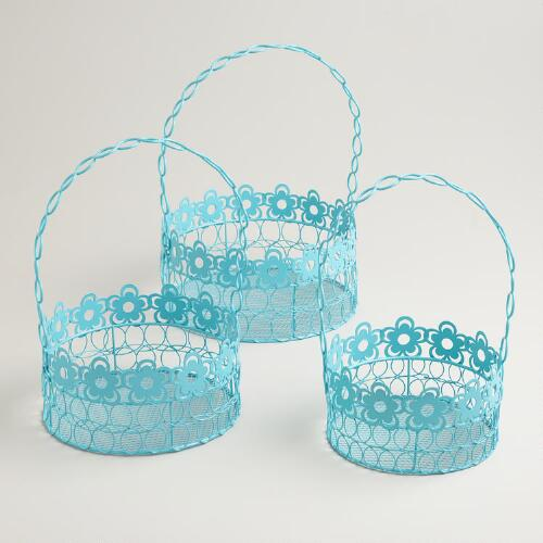 Blue Floral Wire Baskets