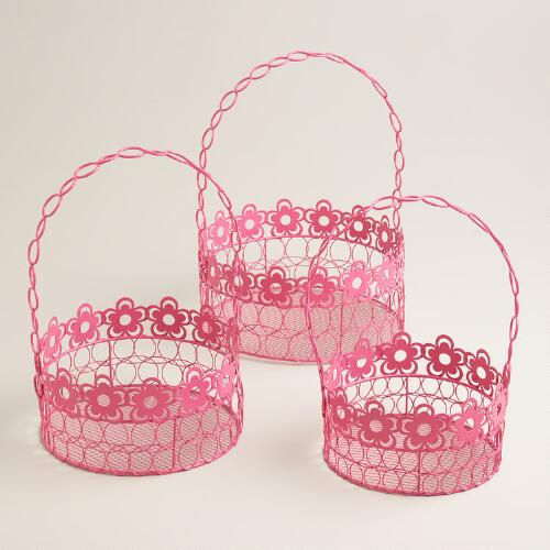 Pink Floral Wire Baskets