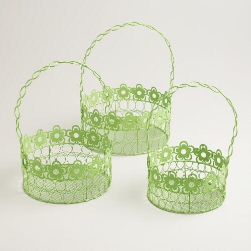 Green Floral Wire Baskets