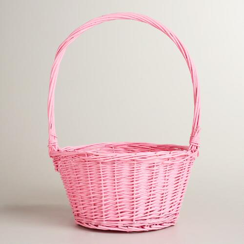 Pink Ellie Willow Basket with Handle