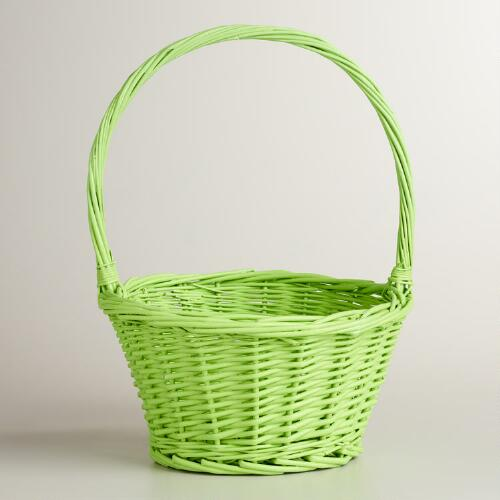 Green Ellie Willow Basket with Handle